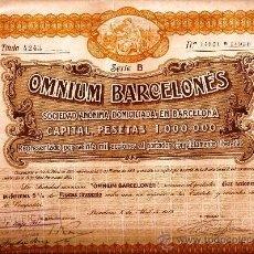 Coleccionismo Acciones Españolas: OMNIUM BARCELONÉS, S. A.. Lote 33521600
