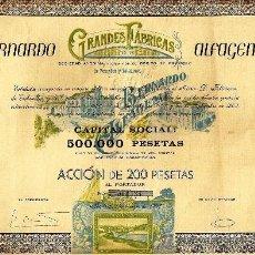 Coleccionismo Acciones Españolas: BERNARDO ALFAGEME. GRANDES FÁBRICAS DE PESCADOS Y SALAZONES.. Lote 33572284