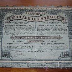 Coleccionismo Acciones Españolas: ACCIÓN COMPAÑÍA DE LOS FERROCARRILES ANDALUCES. MADRID, 1913. Lote 33576135