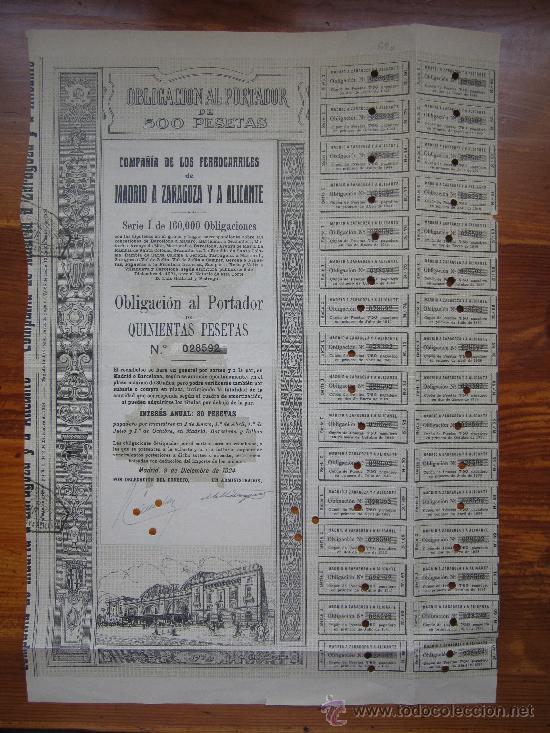 OBLIGACIÓN COMPAÑÍA DE LOS FERROCARRILES DE MADRID A ZARAGOZA Y A ALICANTE. MADRID, 1924 (Coleccionismo - Acciones Españolas)