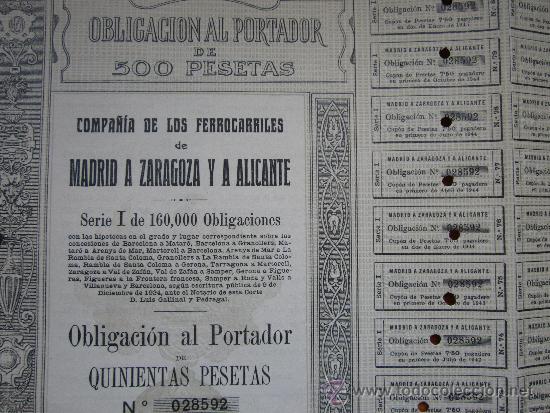 Coleccionismo Acciones Españolas: OBLIGACIÓN COMPAÑÍA DE LOS FERROCARRILES DE MADRID A ZARAGOZA Y A ALICANTE. MADRID, 1924 - Foto 2 - 33576296