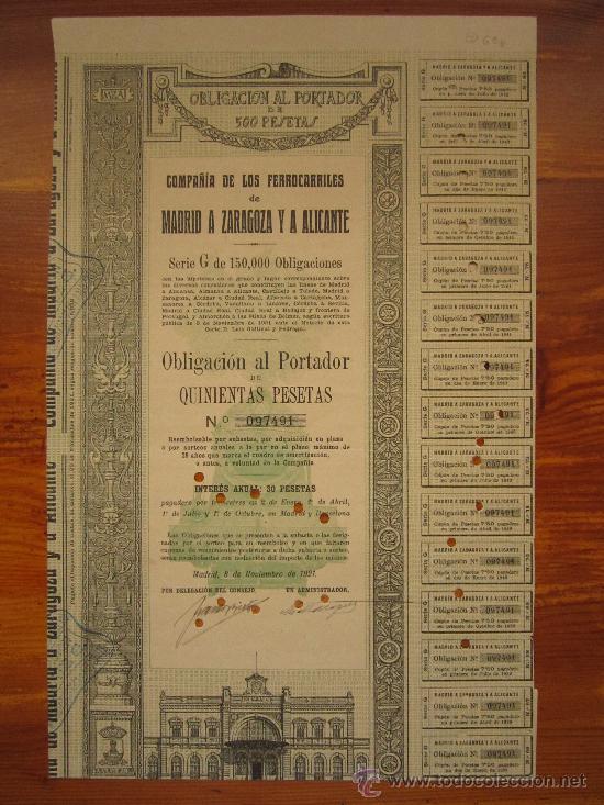 OBLIGACIÓN COMPAÑÍA DE LOS FERROCARRILES DE MADRID A ZARAGOZA Y A ALICANTE. MADRID, 1921 (Coleccionismo - Acciones Españolas)