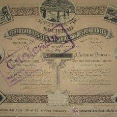 Coleccionismo Acciones Españolas: ACCIÓN FERROCARRILES DE MONTAÑA Á GRANDES PENDIENTES. BARCELONA, 1891. Lote 33576598