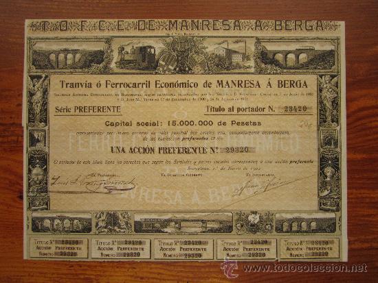 ACCIÓN TRANVÍA Ó FERRICARRIL ECONÓMICO DE MANRESA Á BERGA. BARCELONA, 1902 (Coleccionismo - Acciones Españolas)