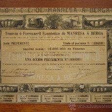 Coleccionismo Acciones Españolas: ACCIÓN TRANVÍA Ó FERRICARRIL ECONÓMICO DE MANRESA Á BERGA. BARCELONA, 1902. Lote 33577072
