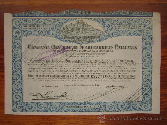 ACCIÓN COMPAÑÍA GENERAL DE FERROCARRILES CATALANES. BARCELONA, 1922. (Coleccionismo - Acciones Españolas)