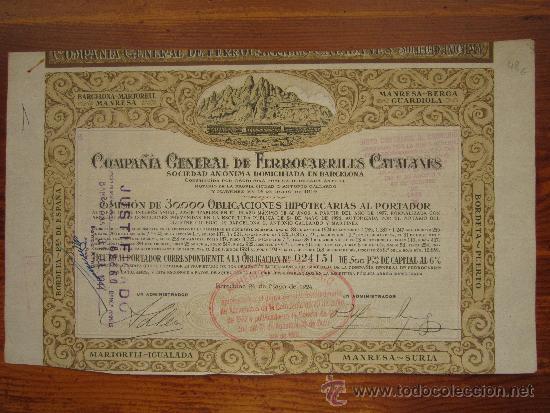 ACCIÓN COMPAÑÍA GENERAL DE FERROCARRILES CATALANES. BARCELONA, 1924 (Coleccionismo - Acciones Españolas)