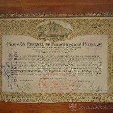 Coleccionismo Acciones Españolas: ACCIÓN COMPAÑÍA GENERAL DE FERROCARRILES CATALANES. BARCELONA, 1924. Lote 33577524