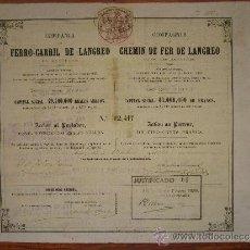 Coleccionismo Acciones Españolas: ACCIÓN COMPAÑÍA FERROCARRIL DE LANGREO, ASTURIAS. MADRID, 1864. Lote 33578238