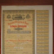 Coleccionismo Acciones Españolas: ACCIÓN SOCIEDAD TRANVÍA DE VAPOR DEL LITORAL ASTURIANO. AVILÉS, 1893. . Lote 33578503