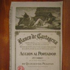 Coleccionismo Acciones Españolas: ACCIÓN BANCO DE CARTAGENA. CARTAGENA, 1900. Lote 33608270