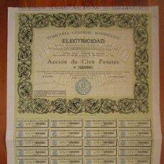 Coleccionismo Acciones Españolas: ACCIÓN COMPAÑÍA GENERAL MADRILEÑA DE ELECTRICIDAD. MADRID, 1901. Lote 33610177