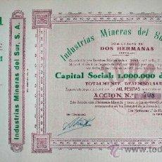 Coleccionismo Acciones Españolas: ACCIÓN.- INDUSTRIAS MINERAS DEL SUR 1957 DOS HERMANAS (SEVILLA). Lote 102121806