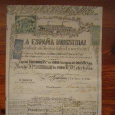 Coleccionismo Acciones Españolas: ACCIÓN LA ESPAÑA INDUSTRIAL S.A. FABRIL Y MERCANTIL. BARCELONA, 1854. Lote 33792955
