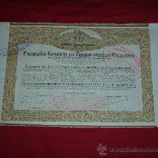 Coleccionismo Acciones Españolas: COMPAÑIA GENERAL DE FERROCARRILES CATALANES - BARCELONA 24 MAYO 1924 - ACCION 21 X 33 CMS.. Lote 101929644
