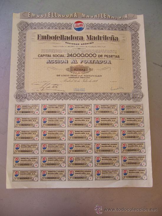 ACCIÓN DE PEPSI COLA EMBOTELLADORA MADRILEÑA S.A. 1957 (Coleccionismo - Acciones Españolas)