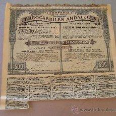 Coleccionismo Acciones Españolas: ACCIÓN DE LA COMPAÑIA DE LOS FERROCARRILES ANDALUCES 1913. Lote 33977925