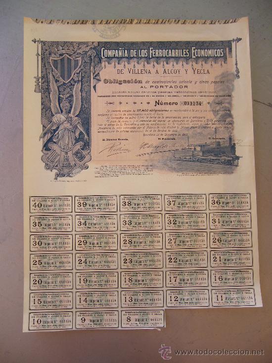 ACCIÓN COMPAÑIA DE LOS FERROCARRILES ECONÓMICOS DE VILLENA A ALCOY Y YECLA 1902 (Coleccionismo - Acciones Españolas)