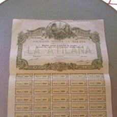Coleccionismo Acciones Españolas: ACCIÓN SOCIEDAD MINERA LA ATILANA BILBAO 1902. Lote 33978323