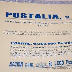Coleccionismo Acciones Españolas: ACCION POSTALIA S.A. GETAFE MADRID 1968. Lote 34003765