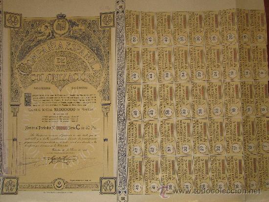 ACCIÓN COMPAÑÍA ESPAÑOLA DE COLONIZACIÓN. TETUÁN, 1916 (Coleccionismo - Acciones Españolas)