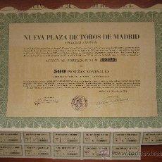 Coleccionismo Acciones Españolas: ACCIÓN NUEVA PLAZA DE TOROS DE MADRID S.A. MADRID, 1953. Lote 34060852