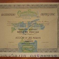 Coleccionismo Acciones Españolas: ACCIÓN BERNARDO GRANDES FÁBRICAS ALFAGEME S.A. DE PESCADOS Y SALAZONES. MADRID, 1908. Lote 34067730