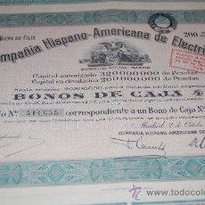 Coleccionismo Acciones Españolas: ACCION COMPAÑIA HISPANO AMERICANA DE ELECTRICIDAD MADRID 1945. Lote 34115786