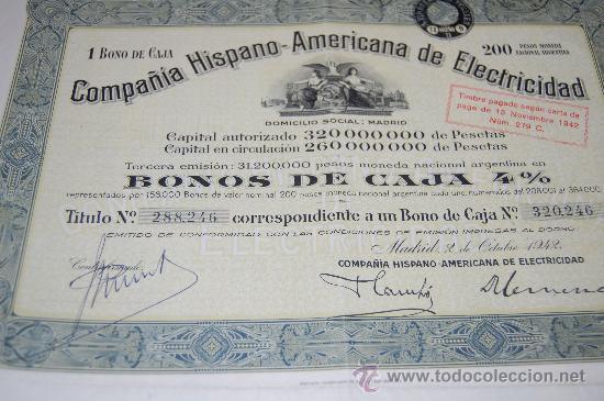 ACCION COMPAÑIA HISPANO AMERICANA DE ELECTRICIDAD MADRID 1942 (Coleccionismo - Acciones Españolas)