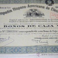 Coleccionismo Acciones Españolas: ACCION COMPAÑIA HISPANO AMERICANA DE ELECTRICIDAD MADRID 1942. Lote 34115823