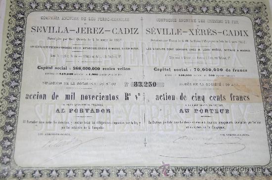 ACCION 1857 DE 1900 REALES VELLON FERROCARRIL SEVILLA JEREZ CADIZ AÑO 1857 (Coleccionismo - Acciones Españolas)
