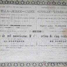 Coleccionismo Acciones Españolas: ACCION 1857 DE 1900 REALES VELLON FERROCARRIL SEVILLA JEREZ CADIZ AÑO 1857. Lote 34116152