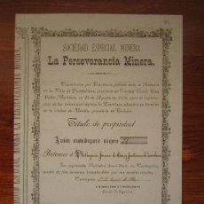 Coleccionismo Acciones Españolas: ACCIÓN SOCIEDAD MINERA LA PERSEVERANCIA MINERA. CARTAGENA, 1880. Lote 34122772