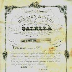 Coleccionismo Acciones Españolas: MINERIA - CALELLA - 1840'S - ACCIÓN Nº 5. Lote 34147706