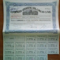 Coleccionismo Acciones Españolas: 1929 DOCE ACCIONES PREFERENTE DE LA Cª GENERAL DEL CORCHO- FIRMADAS POR CAMBÓ. Lote 34166050