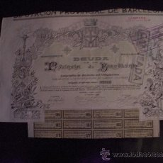 Coleccionismo Acciones Españolas: DEUDA DE LA PROVÍNCIA DE BARCELONA AÑO 1906. Lote 34174168