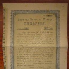Coleccionismo Acciones Españolas: ACCIÓN SOCIEDAD ESPECIAL MINERA NUMANCIA. CARTAGENA, 1900.. Lote 34220678