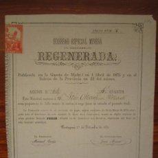 Coleccionismo Acciones Españolas: ACCIÓN SOCIEDAD ESPECIAL MINERA REGENERADA. CARTAGENA, 1875. Lote 34220751