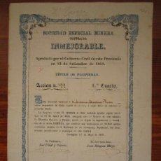 Coleccionismo Acciones Españolas: ACCIÓN SOCIEDAD ESPECIAL MINERA INMEJORABLE. CARTAGENA, 1870. Lote 34220810