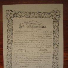 Coleccionismo Acciones Españolas: ACCIÓN SOCIEDAD ESPECIAL MINERA LA APARECIDA. CARTAGENA, 1874. Lote 34228717
