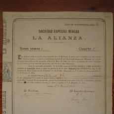 Coleccionismo Acciones Españolas: ACCIÓN SOCIEDAD ESPECIAL MINERA LA ALIANZA. CARTAGENA, 1866. Lote 34228749