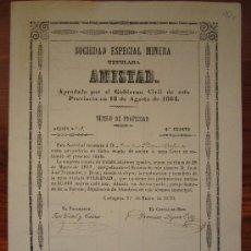 Coleccionismo Acciones Españolas: ACCIÓN SOCIEDAD ESPECIAL MINERA AMISTAD. CARTAGENA, 1870. Lote 34228911