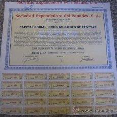 Coleccionismo Acciones Españolas: ACCION : SOCIEDAD EXPENDEDORA DEL PENADES SA - VILFRANCA DEL PENADES - 1971 33X33 CM CUPONES R9. Lote 49585820