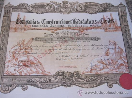Coleccionismo Acciones Españolas: ACCION : COMPAÑIA DE CONSTRUCCIONES HIDRAULICAS Y CIVILES - MADRID 1953 - CUPONES - 60X35 - R3 - Foto 2 - 34246716