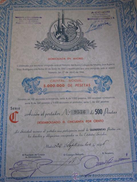 Coleccionismo Acciones Españolas: ACCION : INSTITUCION ASEGURADORA SA - MADRID 1946 40X36 CUPONES - R2 SEGUROS - Foto 2 - 102642339