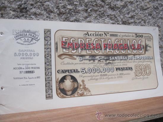 ACCION EMPRESA FRAGA DE ESPECTACULOS 1922 - CINE VIGO 40X21CM - EMISION DE 10.000 ACCIONES NUMERADAS (Coleccionismo - Acciones Españolas)