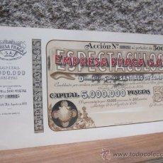 Coleccionismo Acciones Españolas: ACCION EMPRESA FRAGA DE ESPECTACULOS 1922 - CINE VIGO 40X21CM - EMISION DE 10.000 ACCIONES NUMERADAS. Lote 269045893