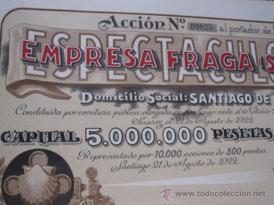 Coleccionismo Acciones Españolas: ACCION EMPRESA FRAGA DE ESPECTACULOS 1922 - CINE VIGO 40X21CM - EMISION DE 10.000 ACCIONES NUMERADAS - Foto 2 - 269045893