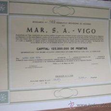 Coleccionismo Acciones Españolas: ACCION PESCA - CASA MAR SA - VIGO 1965 NOMINATIVA LAURA ALBO TOCA - PERFECTA 32X24CM. Lote 34331091