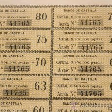 Coleccionismo Acciones Españolas: SOLO CUPONES DE LA ACCIÓN 41.765 DEL BANCO DE CASTILLA, SOCIEDAD DE CRÉDITO. MADRID, 1880. Lote 34338064